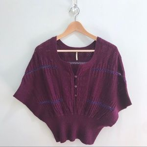 Purple Batwing Sleeve Free People Sweater sz XS